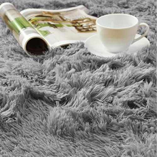 Large Product Image of ACTCUT Super Soft Indoor Modern Shag Area Silky Smooth Fur Rugs Fluffy Rugs Anti-Skid Shaggy Area Rug Dining Room Home Bedroom Carpet Floor Mat 4- Feet by 5- Feet (Grey)