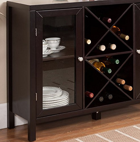 Liquor storage cabinet buffet with glass doors large in for 16 bottle wine cabinet with glass door espresso