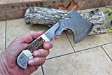 DKC-852 LONE WOLF Ax Damascus Steel 1lb 6 oz !oz 4.75''Balde 11'' Long Stag Horn Handle