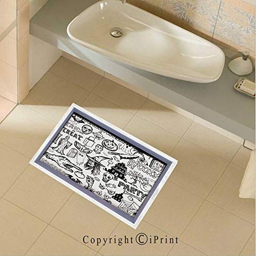 Removable DIY Floor Stickers Decor Hand Drawn Halloween Doodle Trick or Treat Knife Party Severed Hand Decorative for Home Walls Floor Ceiling Kids Nursery Room Boy Girls Bedroom Bathroom Living -