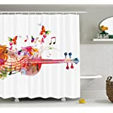 Ambesonne Music Decor Collection, Violoncello with Butterflies Festive Summer Blooms Happy Artful Design, Polyester Fabric Bathroom Shower Curtain Set with Hooks, Red Green