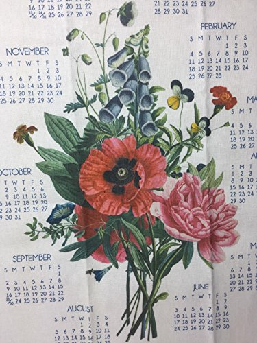 2018 Red Poppy Flower Calendar Towel Linen Dish Tea Kitchen Towel (Calendar Linen Tea Towel)