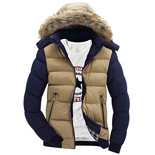 Men's Winter clothing cap jacket Men's Khaki Buggy Men's Down Coat down short Feather Sau cotton qvnxzwA