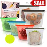 Reusable Silicone Food Storage Bags, 6 Pack Airtight BPA Free Snack Bags for Preservation & Cooking (2 Large & 4 Medium w/Silicone Scrubber Sponge) Baggies for Sous Vide, Sandwich, Meat, Vegetables