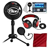 Blue Snowball Studio USB All-In-One Vocal Recording System with Samson Dynamic Headphones, Mic Pop Filter, and Fibertique Cloth