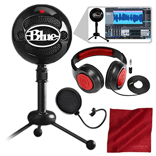Blue Snowball Studio USB All-In-One Vocal Recording System with Samson Dynamic Headphones, Mic Pop Filter, and Fibertique - Dynamic Vocal Samson Microphone