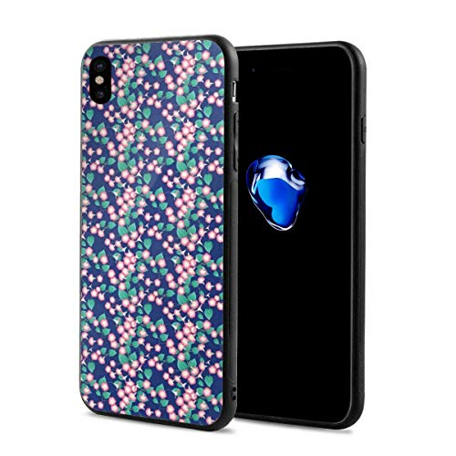 Phone Case Cover for iPhone X XS,Pink Morning Glory Flowers Springtime in Japan Theme Arrangement,Compatible with iPhone X/XS 5.8