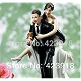 IntoU Playful Football Couple Figurine Wedding Funny Cake Topper Wedding Accessories Decoration (Black&White) by IntoU