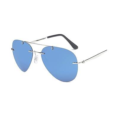 73ba052c9410 Amazon.com: SYBYA NEW Rimless Pilot Polarized Ultralight Sunglasses ...