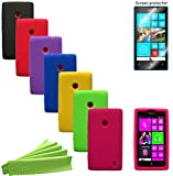 ColorYourLife Bundle of 7 Silicone Cases Covers Skins with Screen Protector for Nokia Lumia 520 and Microfiber Cleaning Cloth