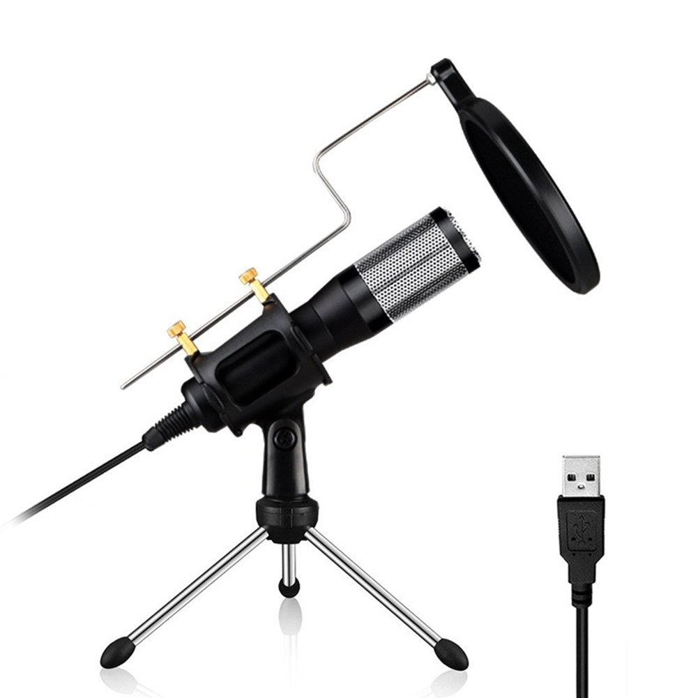 Fashionwu USB Condenser Microphone Plug and Play Home Studio Microphones for PC Laptop MAC