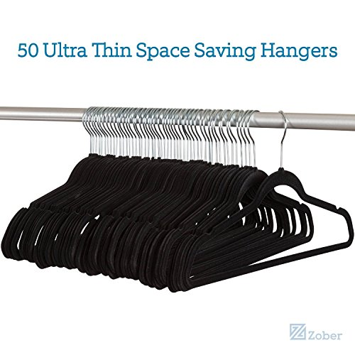 Zober Premium Quality Space Saving Velvet Hangers Strong and Durable Hold Up To 10 Lbs - 360 Degree Chrome Swivel Hook - Ultra Thin Non Slip Suit Hangers, Black (50 Pack) - bedroomdesign.us