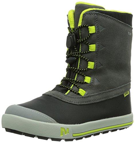Merrell SNOW BANK WATERPROOF KIDS, Jungen Trekking- & Wanderstiefel, Grau (GREY/LIME), 28 EU