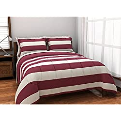 7 Piece Burgundy Boys Rugby Stripes Pattern FULL SIZED Comforter Set With Sheets, Beautiful Sports Striped Nautical Theme, Horizontal Cabana Lines Print Design, Vibrant Brick White For Kids, Polyester
