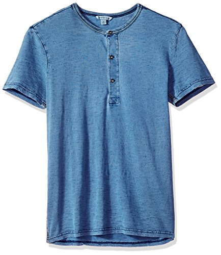 Calvin Klein Jeans Men's Short Sleeve Henley Shirt with Three Button Placket, Light Indigo, M by Calvin Klein