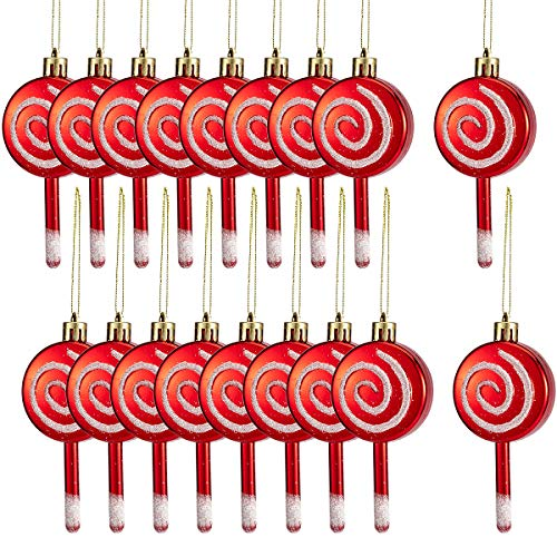 MEWTOGO 18 Pcs Christmas Candy Lollipop Ornament Set- 4'' Red and White Candy Cane Design Xmas Tree Lollipop Ornament Shatterproof Sparkling for Festive Holiday Décor (Ornament Candy)