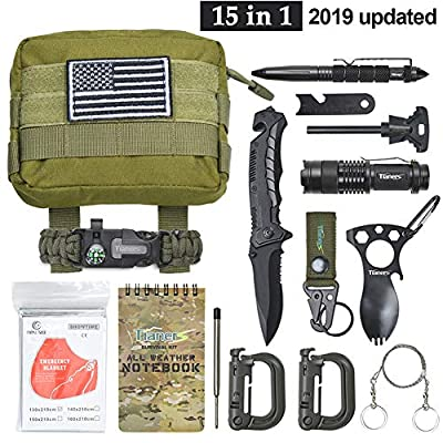 Tianers Emergency Survival Kit 16 in 1, Upgrade Compact Survival Gear, Tactical Survival Tool for Cars, Camping, Hiking, Hunting, Adventure Accessorie by Tianers