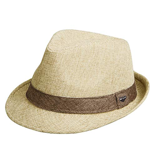 Erigaray Classic Fedora Straw Hat for Mens Summer Short Brim Beach Sun Hat Jazz Cap