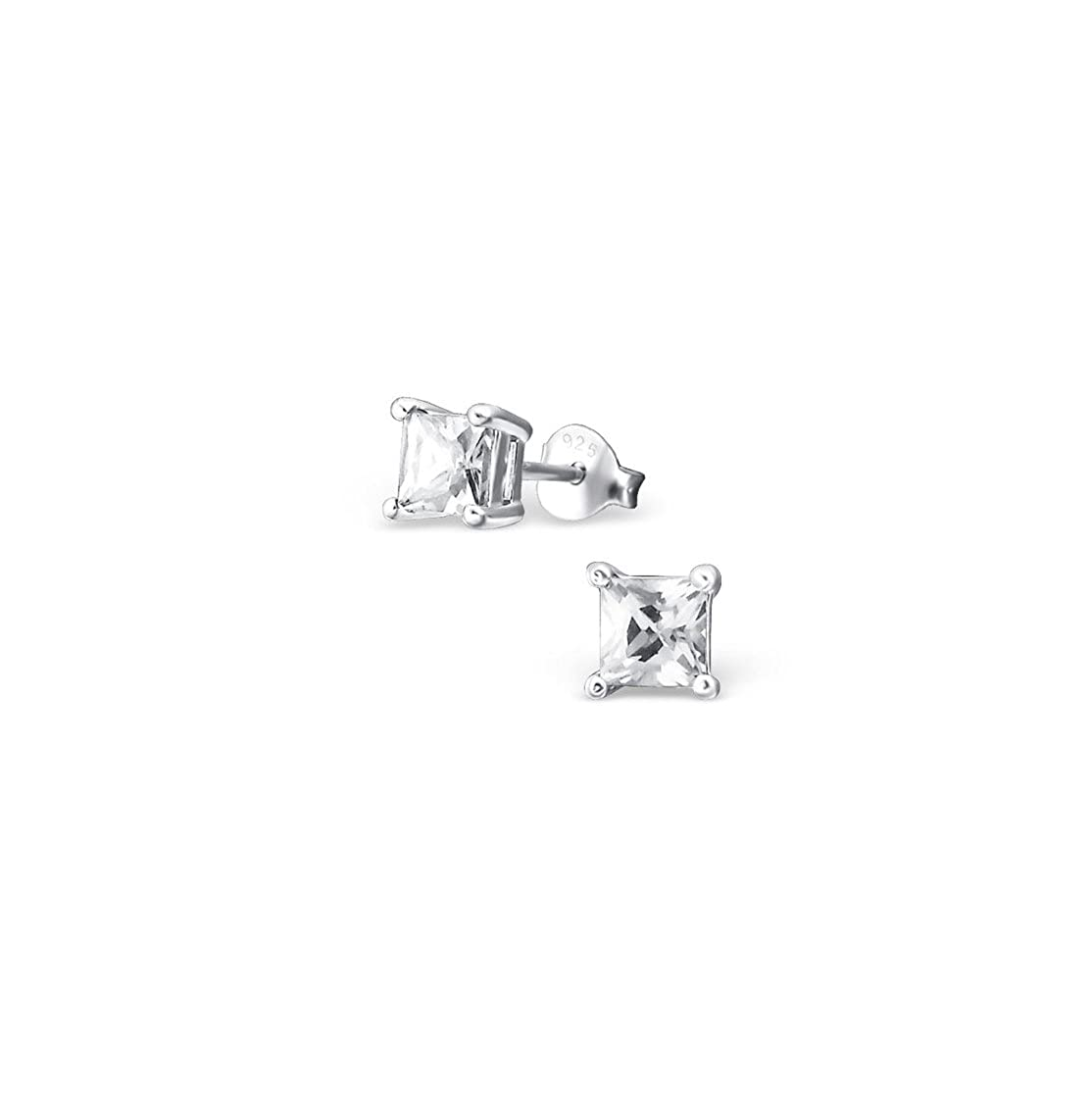 Polished And Nickel Free Square Ear Studs With Cubic Zirconia Sterling Silver 925 Liara