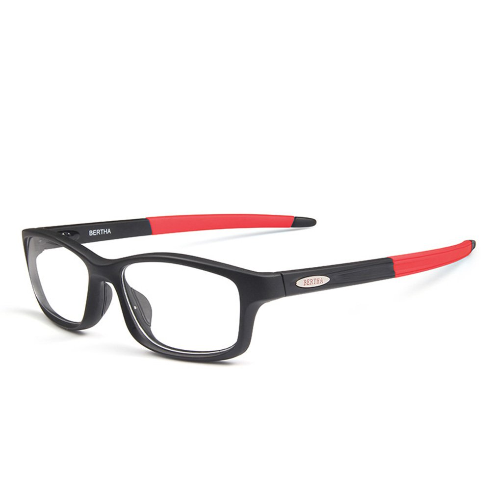 Bertha Sports Glasses Optical Protection Basketball Eyeglasses Frame Business Presription Eyewear 004 (Black&Red)