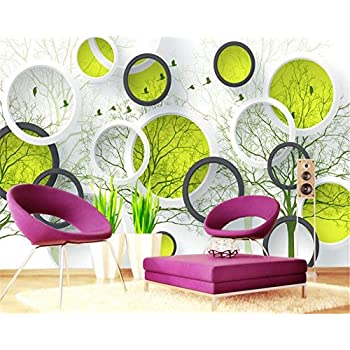 Image of Ai Ya-bihua 3D Wallpaper Abstract Tree 3D Circle TV Background Wall Living Room Bedroom Sofa Background Wallpaper for Walls 3 d