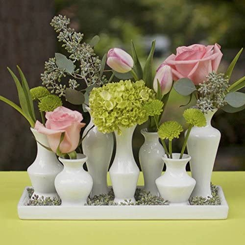 Ceramic Vase Cluster on Tray Set, Modern Centerpiece, White