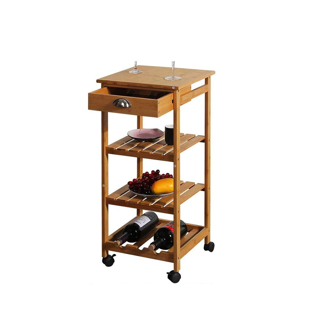 Kitchen Bamboo Multi-Layer Rack/Corner Frame with Wheels Removable Trolley/Seasoning Storage Shelf Yixin (Color : A, Size : 373780.5cm)