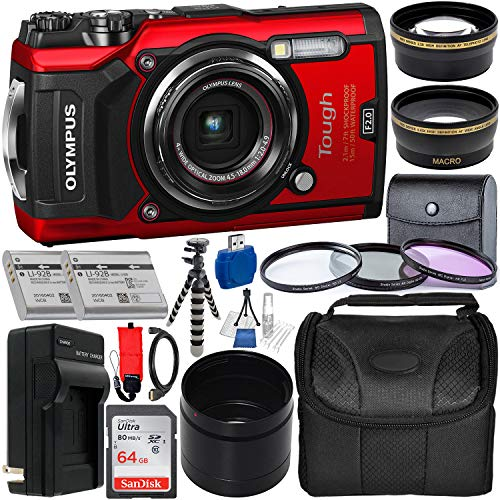 Olympus Tough TG-5 Digital Camera (Red) with Deluxe Accessory Bundle - Includes: SanDisk Ultra 64GB SDXC Memory Card + 2X Spare Batteries with Charger + Flexible Gripster Tripod + Adapter Tube + More