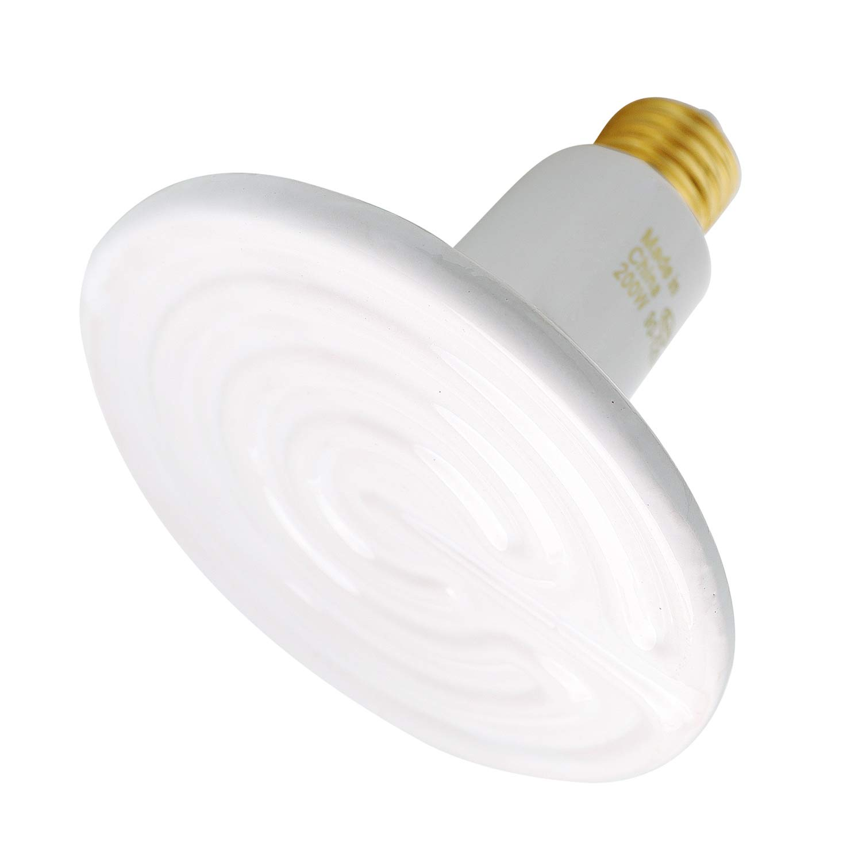 OMAYKEY 200W Ceramic Heat Lamp, Upgraded Enlarged Infrared Heating Emitter Brooder Lamp Bulb for Pet Coop Heater Reptile Chicken Lizard Turtle Snake Chameleon Aquarium, White Round Shape