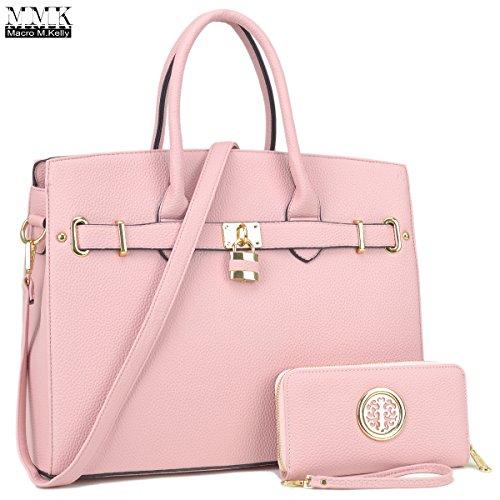 MMK Collection Fashion Women handbag~Pad-Lock Medium Fashion Satchel~ Top-Handle Purse with Matching Wallet Set(7103W) (MA-031006-W-Pink)