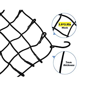 "19.6"" x 59"" Bungee Cargo Net - Stretches to 35"" x 78"" with 10 Adjustable Metal Hooks,7mm Cords by Big Ant"