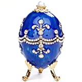 Jewelry Organizer,Hand Painted Enameled Faberge Egg Hand-Painted Sculpted Figure Vintage Style Decorative Hinged Jewelry Trinket Box (Blue)