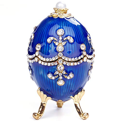 (Jewelry Organizer,Hand Painted Enameled Faberge Egg Hand-Painted Sculpted Figure Vintage Style Decorative Hinged Jewelry Trinket Box (Blue))