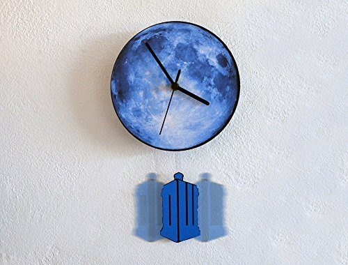 (Tardis Swinging on the Moon - Pendulum Wall Clock)