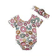 ITFABS Newborn Baby Girls Donuts Romper Summer Clothes Short Sleeve Bodysuits + Headband Outfits(0-6 M, Pink)