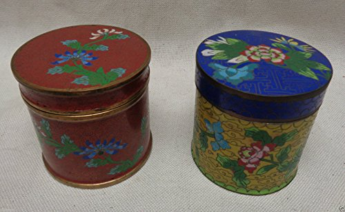 Cloisonne Jar (Vintage Pair of Cylindrical Chinese Cloisonné Jars w. Beautiful Floral Designs)
