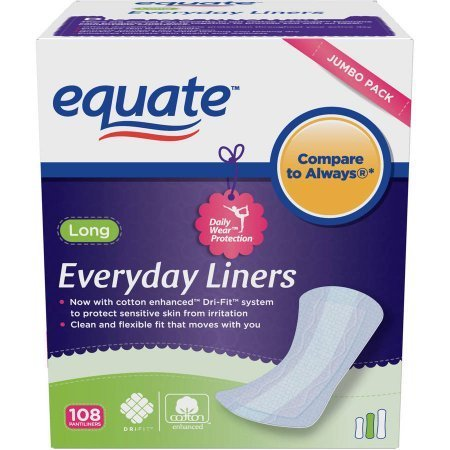 PACK OF 6 - Equate Everyday Liners, Long, Unscented, 108 Ct