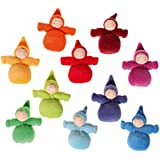 Grimm's Rainbow of Little Waldorf Dolls in Organic Cotton, Set of 10 Dwarfs without Beards