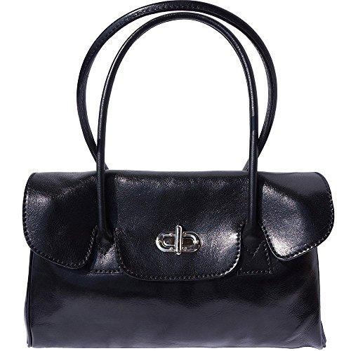 Lady Handbag And Leather Handles Black 6544 Shoulderbag 2 With qwTwr5