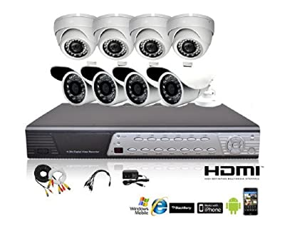 iPower Security Hard Disk Full D1 DVR Security Surveillance System with 4 850TVL Cameras