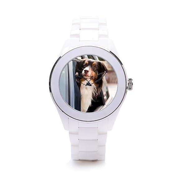 queenslandmen swrist relojes reloj de pulsera de cerámica de Windows divertido perro