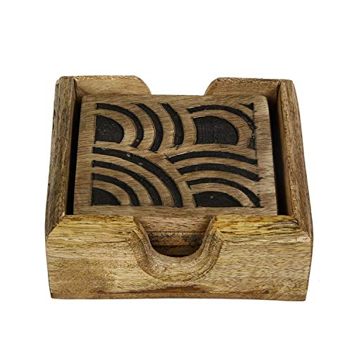 - Wooden Hand Carved Set of 4 Coasters with Holder Tea Coffee Beverages Drinks Glasses Square Coaster Kitchen Bar Dining Accessories