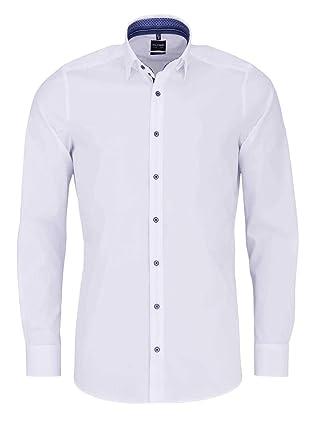 OLYMP - Camisa Lisa con Detalle de Ribetes, Color Blanco: Amazon ...