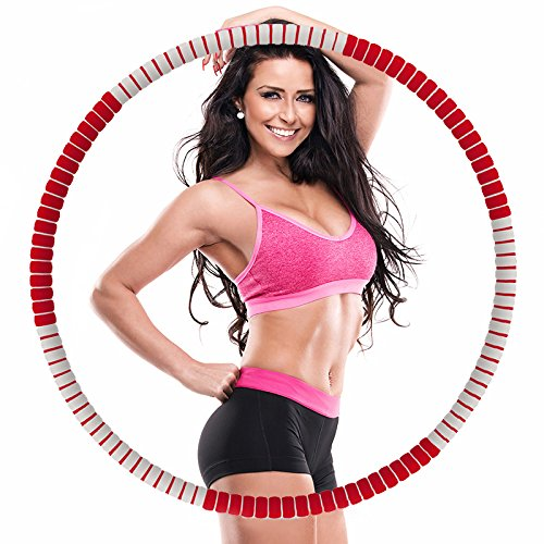 Weighted Hula Hoop -2.7lbs-5lbs-Free to add weight-Heavy Fitness Hoop - Weight Loss Workout Equipment - the Funnest Way to Lose Weight - Fat Burning (Red and gray)