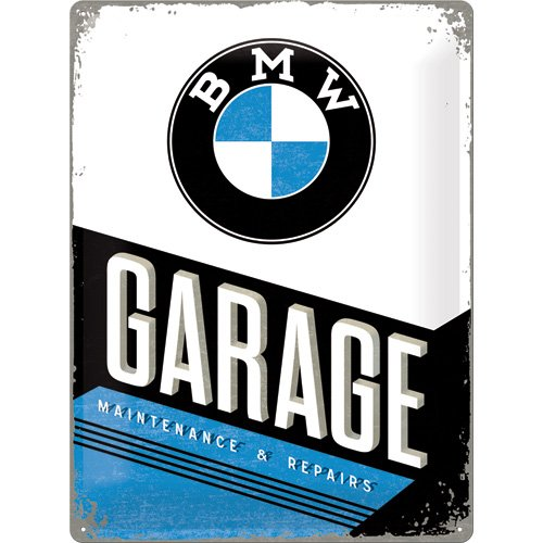 Plaque en métal avec inscription BMW garage 30x40cm