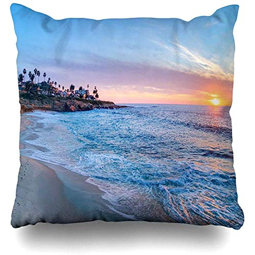 Throw Pillow Covers La Blue San Magnificent Sunset On Beach Jolla City Parks Diego California Nature Ocean Coast Home Decor Pillows case Square 18 x 18 Inch Zippered Cushion Case -