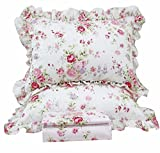 Queen's House Romantic Roses Print Duvet Cover Bedding Sets-King,A