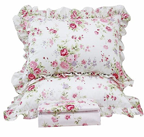 Queen's House Romantic Roses Print Duvet Cover Bedding Sets-Queen,A Shabby Chic Shabby Bedskirt