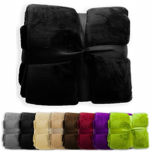 (casa pura Fleece Throw Blanket | Plush Blanket Throw for Couch or Twin Size Bed | Super Soft & Cozy Fur Blankets | Various Sizes and Colors | Black - 60