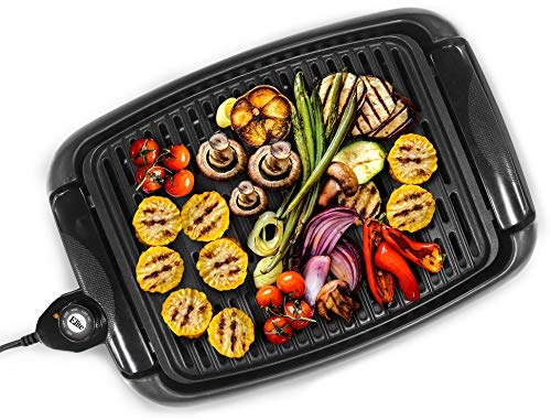 Maxi-Matic EGL-3450 Indoor Electric Non-Stick Grill Adjustable Thermostat, Dishwasher Safe, Faster Heat Up, Low-Fat Meals, Easy Clean Design, 13 x 9-inch, Black (It Indoor Smokeless Grill Grill Stovetop)